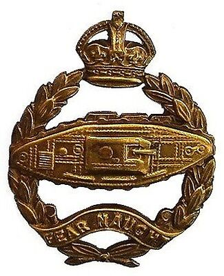 WW1 TANK CORPS BADGE TANK FACING RIGHT OSD OFFICERS K.C
