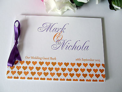 Personalised Guest Book Wedding Birthday Baby Shower Engagement Party Hearts