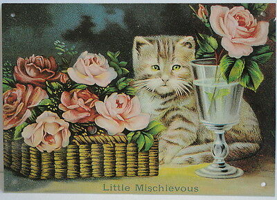 Cat w/ Red Roses Mischievous Antique Advertisting Victorian Metal Display Sign