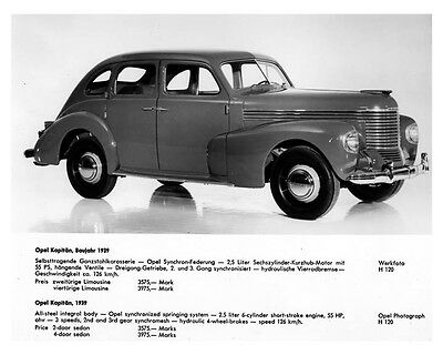 1939 Opel Kapitan Factory Photo ca2085