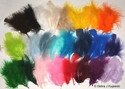 "3-8"" Fluffy Marabou Feathers in 30 colors 7 grams (1/4 oz) Approx. 35 per bag"