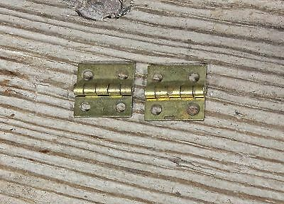 "2 very tiny small old door butt hinges brass 1/2 x 1/2"" tarnished box vintage"
