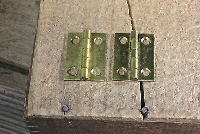 "2 small Cabinet door hinges shutter NOS solid brass 1 x 3/4"" jewelry box vintage"