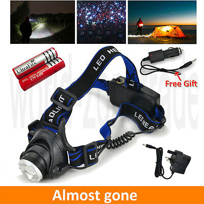 CREE XM-L XML T6 LED Rechargeable Head Torch Zoomable Headlamp Headlight 2x18650