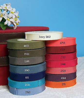 "10yd Roll Pick Color Vintage 5/8"" French Grosgrain Ribbon Petersham Cotton Rayon"