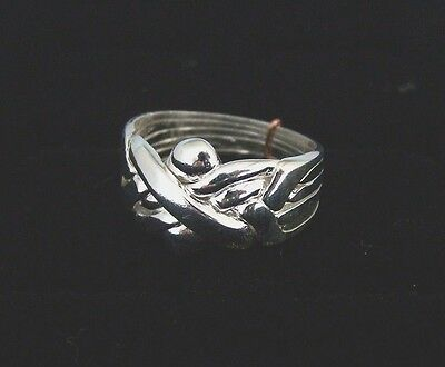 Silver 5 Band Turkish Interlocking Puzzle Ring - Traditional Style   .925 Plated