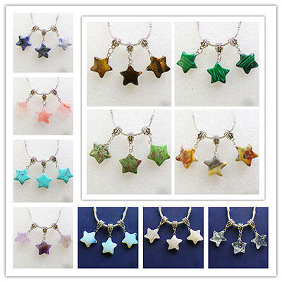 6Pcs Mixed Gemstone Star Charms Pendant Fit European Bracelet Necklace XLZ-273