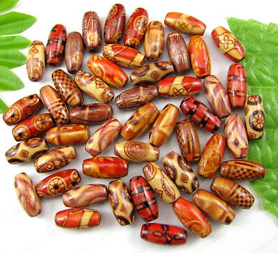 100Pcs Mixed 15X7MM Hand painted art Wood oval loose beads DIY FINDINGS