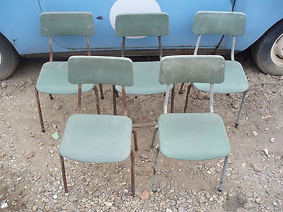 5x VINTAGE ? CHILDRENS METAL & PLASTIC STACKING SCHOOL CHAIRS, BARN FIND