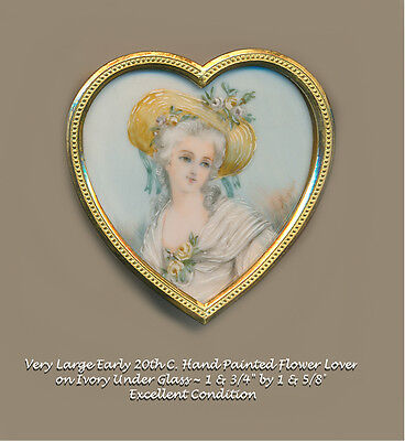 Button--Large Early 20th C. Hand Painted Lady in Yellow Roses Under Glass Heart