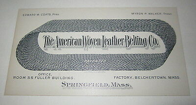 Old c.1900 - American Woven Leather Belting Business Card - Springfield Mass.