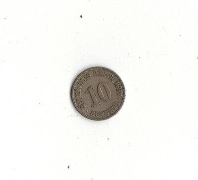 *WORLD FOREIGN COINS* GERMANY *10 PFENNIG 1897A*Lot Mr14*118 years old* Pre-Euro