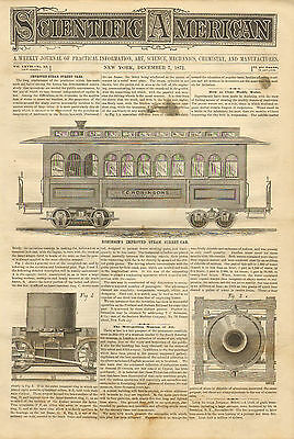 Robinson's Improved Steam Streetcar, Vintage, 1873 Antique Print.
