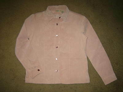 Travel Smith Washable Leather jacket lt pink unlined Size x small button closure