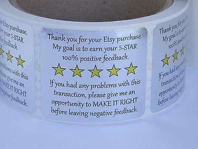 Thank You for your Etsy Purchase & Feedback  label sticker silver foil  250/rl