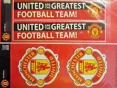 2 x Official Manchester United Football Club Car Stickers 2 Designs Free UK Post