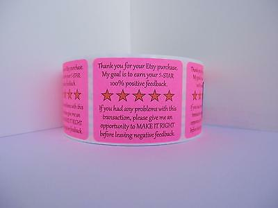 Thank You for your Etsy Purchase & Feedback  label sticker fluor pink  250/rl