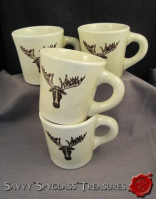 FOUR Vintage Coors Pottery Chefsware Restaurant China Sad Moose Elk Coffee Mugs