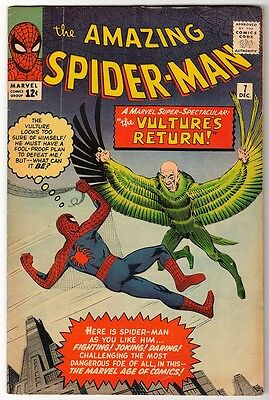 MARVEL Comics SPIDERMAN Amazing Silver age #7 1963 VG+/FN-  app Vulture