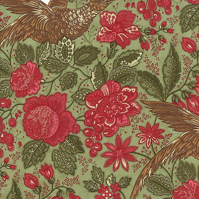 Moda Fabric Winterlude by 3 Sisters 44041-13 Red Floral on Green 1/2 Yard
