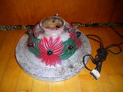 RARE VINTAGE CAST IRON LIGHTED CHRISTMAS TREE STAND POINSETTIA
