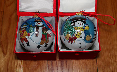 Lot 2 Li Bien Reverse Inside Painting Glass Christmas Ornament Ball Snowman NIB