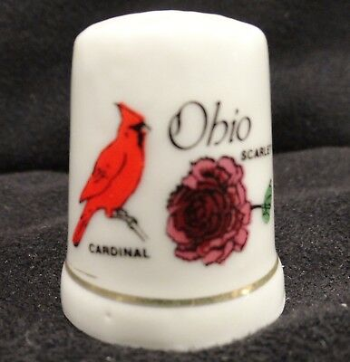 State of Ohio Porcelain Thimble with Cardinal Bird & Scarlet Carnation