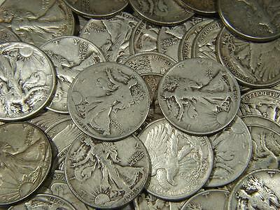 1916 - 1947 Walking Liberty Half Dollar All Different Silver 5 Coin Lot