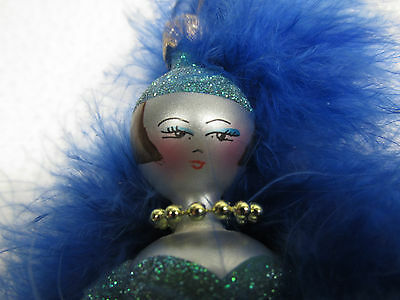 """Vintage 7"""" Italian Feather Christmas ornament blown glass feather lady figural"""