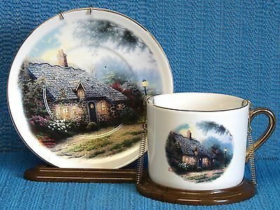 TELEFLORA THOMAS KINKADE CUP & SAUCER ON A STAND-MOONLIGHT COTTAGE
