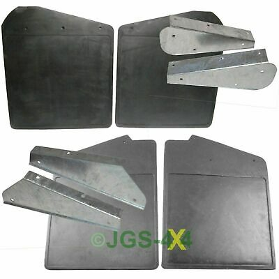 Land Rover Defender 90 Front & Rear Mud Flaps + Galvanised Brackets