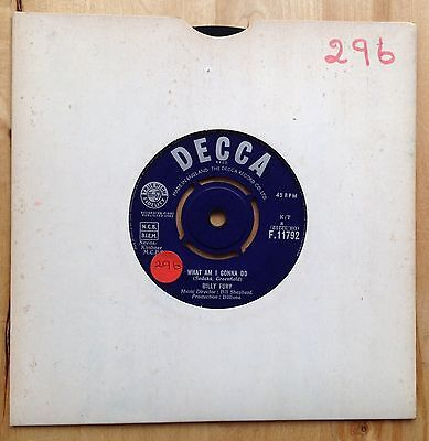 "Vinyl 7"" single record :BILLY FURY - WHAT AM I GONNA DO - 1963"
