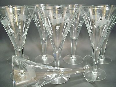 Set of 8 Javit Fine Wheat Gray Cut Water Goblets 7.5""