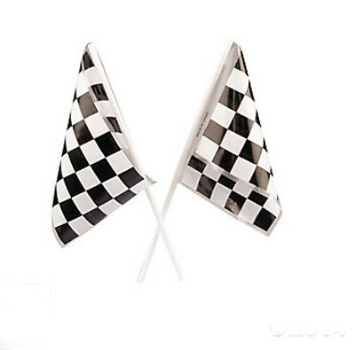 Lot of 24 Plastic Checkered Mini Racing Flags Race Party Favor