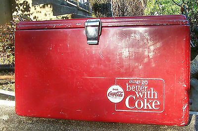 Vintage Coca Cola Cooler Red with opener and drain  60's Progress Refrigeration