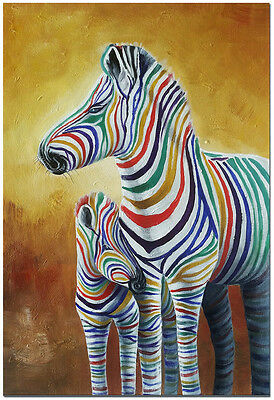 Zebra Mother and Child - Hand Painted Modern Rainbow Style Animal Oil Painting