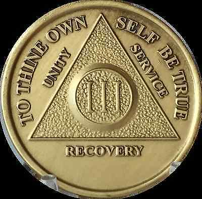 3 Year AA Medallion Alcoholics Anonymous Serenity Prayer Chip Bronze III Coin