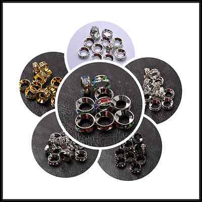 10pcs Quality Czech Crystal Rhinestone Silver Rondelle Spacer Beads 10MM