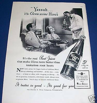 1937 Hires Root Beer Ad Black American train Porter