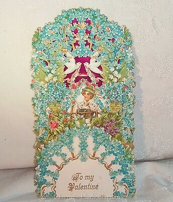 Vintage Valentine Card To My Valentine Fold Out Honeycomb Embossed Large 1930