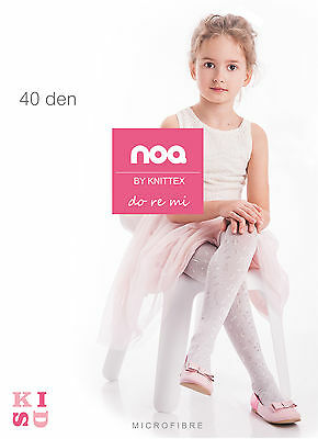 SALE Girls Occasion Tights Musical Pattern 40 Denier Age 2-10 Knittex DoReMi