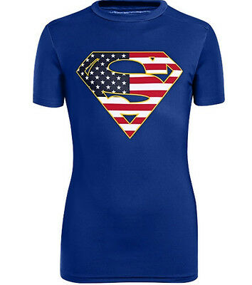 under armour heatgear BOYS youth alter ego superman logo fitted shirt small