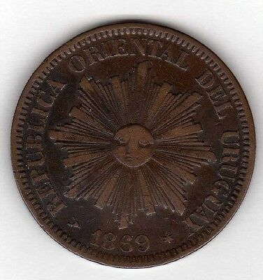 Uruguay 4 Centesimos 1869 H, Copper Nice Condition