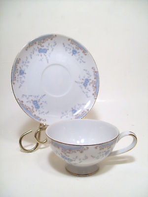 Imperial China Serville Cup & Saucer Blue Roses Scroll
