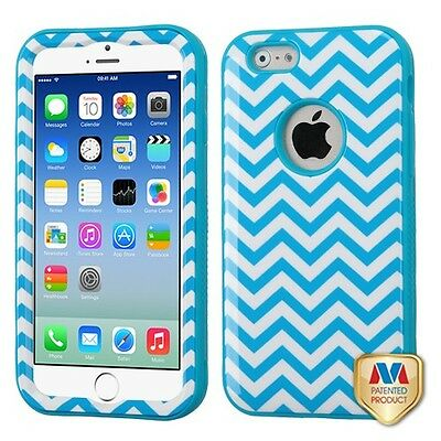 for APPLE iPhone 6 (4.7-inch) WHITE TEAL WAVE VERGE COVER CASE+CLEAR SCREEN FILM