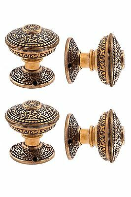 heavy cast  bronze rice pattern doorknobs and rosettes 390038