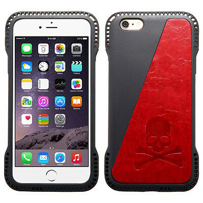 for APPLE iPhone 6 PLUS RED SKULL GEL SKIN CARD CASE COVER + CLEAR SCREEN FILM