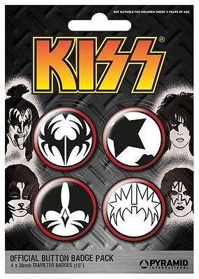 KISS icons 2012 - BUTTON BADGE PACK - SET OF 4 official licensed merchandise