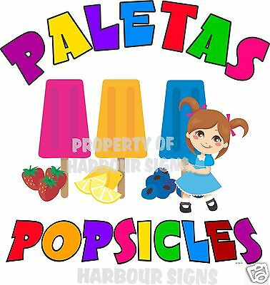 "Paletas Popsicles Popsicle Fruit Concession Cart Food Truck Van Decal 14""  Menu"