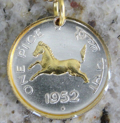 """India 1 Pice 1952 Horse Coin Pendant silver and 24kt Gold Overlay w 18"""" necklace"""